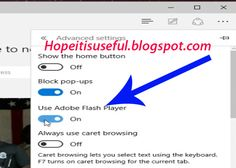 Enable/disable Flash in Edge Browser - Hopeitisuseful.Blogspot.com