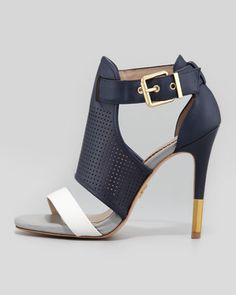 The best high heels for women: Colorblock Cage Sandal by Pour la Victoire Selena, Navy - Neiman Marcus . Hot Shoes, Women's Shoes, Me Too Shoes, Shoe Boots, Pumps, Stilettos, Dream Shoes, Crazy Shoes, Pretty Shoes