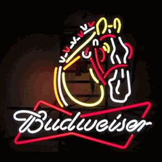"BUDWEISER CLYDESDALE NEON SIGN-NN5BUDCL  22"" wide, 22""high, 4"" deep  The majesty of an iconic animal features in our Budweiser Clydesdale Neon Sign, featuring multi-colored, hand blown tubing supported on a black, finished metal grid. The Budweiser Clydesdale Neon Sign can be displayed flat on a wall or in a window or alternately be placed upon a shelf."