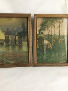 $35 Antique pictures pair of antique wall decor in gold frames farmers and fishermen antique gold framed wall art old pictures behind glass by GlyndasVintageshop on Etsy