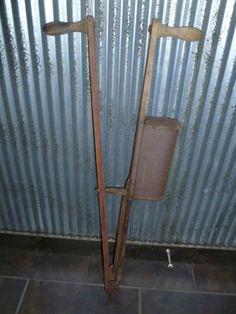 Antique Wooden Hand Corn Planter ~ Old Rustic Farm Tool Primitive Barn Decor