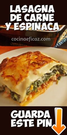 A tasty dish of Italian cuisine to savor in days of low temperature. Look how to prepare meat and spinach lasagna with cheese. Easy Chicken Recipes, Pasta Recipes, Cooking Recipes, Healthy Recipes, Recipe Pasta, Tasty Dishes, Food Dishes, Meat Lasagna, Spinach Lasagna