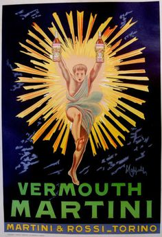 c1950-Original-MARTINI-LITHOGRAPH-ART-POSTER-Vermouth-LEONETTO-CAPPIELLO-Signed