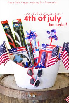 Easy 4th of July Fun Basket- keep kids happy waiting for fireworks!