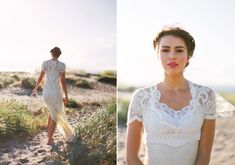 lace wedding dress | photo by Blue Rose Photography | 100 Layer Cake -- Dress by Kimmi Designs