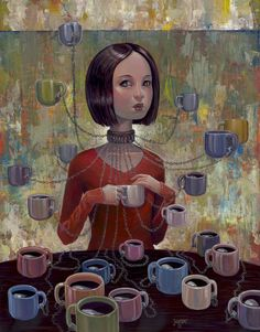 Creative Illustrations by Aaron Jasinski- Do you ever feel like this? Toooooo MUCH COFFEE! Coffee Girl, I Love Coffee, My Coffee, Morning Coffee, Coffee Cafe, Coffee Drinks, Creative Illustration, Illustration Art, Tee Kunst