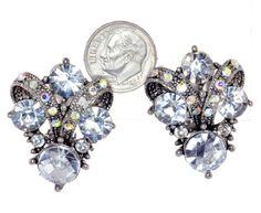 Vintage Austrian Crystal Clip-On Earrings