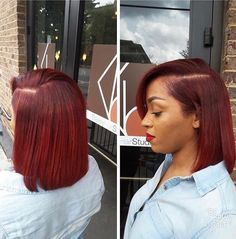 Shela Hair 20 Colorful Bob Wig Middle Part Lace Front Wig Afro, Curly Hair Styles, Natural Hair Styles, Blowout On Natural Hair, Pressed Natural Hair, Corte Y Color, Burgundy Hair, Hair Laid, My Hairstyle