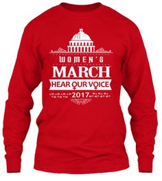 Women's March On Washington T Shirts     Red Long Sleeve T-Shirt Front