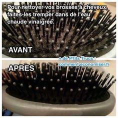 Il existe une astuce pour nettoyer et désinfecter facilement sa brosse à cheveux sale. L'astuce est de la faire tremper dans de l'eau chaude vinaigrée.   Découvrez l'astuce ici : http://www.comment-economiser.fr/comment-nettoyer-et-desinfecter-facilement-brosse-a-cheveux.html?utm_content=buffer4a1fc&utm_medium=social&utm_source=pinterest.com&utm_campaign=buffer