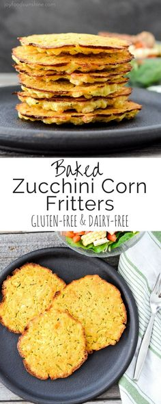Easy, healthy Baked Zucchini Corn Fritters! Loaded with vegetables these delicious fritters are gluten-free, dairy-free & vegan!