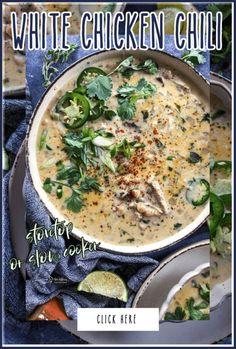 White Chicken Chili Chowder Recipes, Chili Recipes, Soup Recipes, Curry Recipes, Best Chicken Recipes, Great Recipes, Favorite Recipes, Chicken Ideas, Delicious Recipes