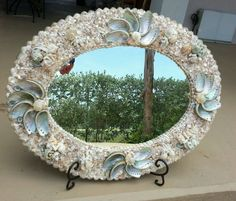 Sea Shell Handcrafted Mirror 27.5x22 in Coastal Beach House. Entrance & Bath #Nautical