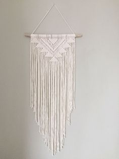 Handmade Macrame Wall Hanging Wall Decor Boho Chic Wall Art Aztec Bohemian Creme Cotton Organic Yarn Tapestry Weave Crochet MADE TO ORDER by BobellaCo on Etsy https://www.etsy.com/uk/listing/498068142/handmade-macrame-wall-hanging-wall-decor