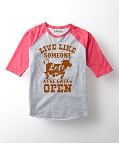 Another great find on #zulily! Athletic Heather & Hot Pink 'Gate Open' Raglan Tee - Toddler #zulilyfinds