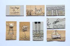 coquillages et crustacés série de broderie et collage sur papier http://www.atelier-etcetera.com