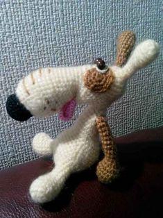 Ручная работа Вязаная крючком собака Лаки ( амигуруми )