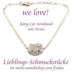 online bummeln und shoppen bei samaki  finden Sie Ihr Lieblingsschmuckstück im www.samakishop.com  Kitty Cat Armband mit Swarovski Kristallen