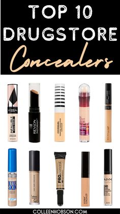 Find out which top 10 drugstore concealers are the best for covering dark under eye circles and blemishes.#best#drugstore#concealer Maybelline, Best Drugstore Concealer, Drugstore Beauty, Beauty Dupes, Nars Concealer Dupe, Best Under Eye Concealer, Best Drugstore Foundation, Foundation Dupes, Eyeshadow Dupes