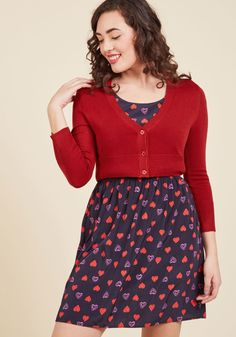 The Dream of the Crop Cardigan in Red, @ModCloth