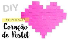 Como Fazer Coração de Post-it  #DIY #criatividade #postit #post-it