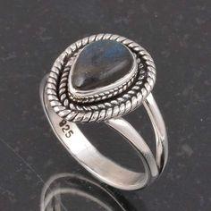 BLUE FIRE LABRADORITE 925 SOLID STERLING SILVER FASHION RING 4.62g DJR6408 #Handmade #Ring