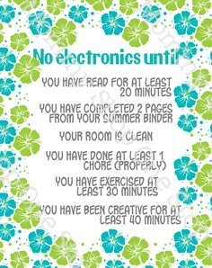 Summer Electronics / Screen-time Rules Printable by TheOneStopMommyShop on Etsy