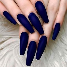 TheGlitterNail Get inspired! on Satin Matte Dark-Blue on long Coffin Nails Nail Artist: thatnailsguy him for more gorgeous nail art designs! Blue Acrylic Nails, Coffin Nails Matte, Coffin Shape Nails, Blue Matte Nails, Chrome Nails, Stiletto Nails, Glitter Nails, Nail Swag, Dream Nails