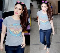 Kareena Kapoor Khan stepping out in this Wonder Woman tee says how pumped up she is to kickstart work – view HQ pics #FansnStars