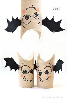 Basteln mit Klopapierrollen - Lustige Fledermäuse für Halloween *** Toilet Roll Bat Buddies - 5min halloween craft for kids
