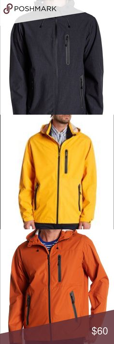 Pro Series Hawke & Co. Defender Men's Jacket This is a perfect weather jacket for men. It's light weight, wind resistant and water proof with its seam-sealed technology.  (3) Medium - Black/Yellow/Orange (1) Large - Orange (1) X-Large -Navy Blue Hawke & Co Jackets & Coats