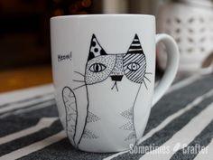 Hand Drawn Kitty Mug // The Sometimes Crafter