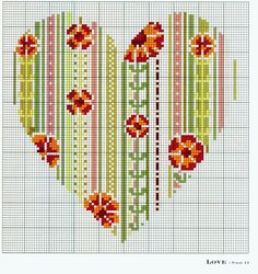 Heart, flowers and patchwork cross stitch pattern 123 Cross Stitch, Cross Stitch Heart, Cross Stitch Alphabet, Cross Stitch Flowers, Wedding Cross Stitch Patterns, Cross Stitch Designs, Cross Stitching, Cross Stitch Embroidery, Cross Stitch Geometric