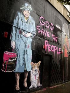 """God Save the People!"". Art Street by Mr. Brainwash, London"