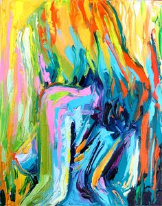 Figure painting abstract nude oil on canvas by SagittariusGallery