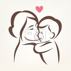 Illustration about Mother and son stylized vector silhouette, outlined sketch of mom and child. Illustration of parent, outline, idea - 53009533 Mother And Child Drawing, Mother Art, Mother And Baby, Drawing For Kids, Mom And Baby, Mother And Child Images, Mom Drawing, Pencil Art Drawings, Easy Drawings