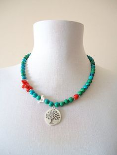 Blue Green Crysocolla Necklace, Red Coral Necklace, Semiprecious Stone Necklace, Green red necklace, Bird and tree necklace – Schmuck Ideen Blue Sapphire Necklace, Red Necklace, Floral Necklace, Stone Necklace, Tiffany Jewelry, Handmade Necklaces, Handmade Jewelry, Jewellery Sketches, Diffuser Necklace