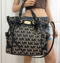 Michael Kors Gansevoort MK Signature Large Black Tote Handbag Shoulder Bag Purse #MichaelKors #ShoulderBag