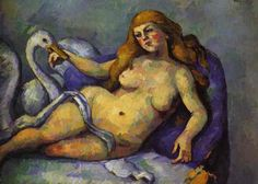Paul Cezanne - Leda with Swan Paul Cézanne was a French artist and Post-Impressionist painter whose work laid the foundations of the transition from the century conception of artistic endeavor to a new and radically different world of art in the century. Renoir, Cezanne Art, Paul Cezanne Paintings, Manet, Matisse, Picasso, Swan Painting, Oil On Canvas, Canvas Art