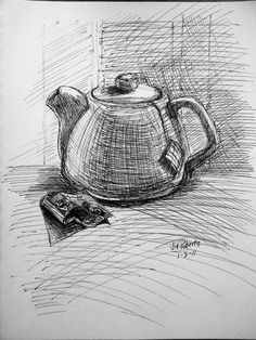 tea teapot pencil pot line drawings drawing drawn cup kettle sketch pots shading step jill cartoon draw coffee time visit