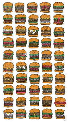 Illustration by Brooklyn-based illustrator Mikey Burton - from on Ello. Burger Drawing, Food Drawing, Sandwich Drawing, Burger Icon, Art Design, Graphic Design, Japanese Pop Art, Burger Party, Lino Art
