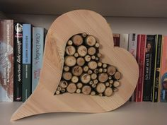 """I produce works of natural products by hand. In this case, a wooden sawn heart, filled with small Astabschnitten. The heart looks """"the same"""" from both sides, that means the branches stick out on both sides. Cordwood Homes, Barn Wood Projects, Valentines Art, Wood Home Decor, Wooden Puzzles, Wood Slices, Shabby Chic Style, Wood Carving, Diy For Kids"""