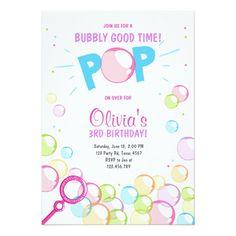 Bubble Birthday Party Invitation POP Birthday Girl