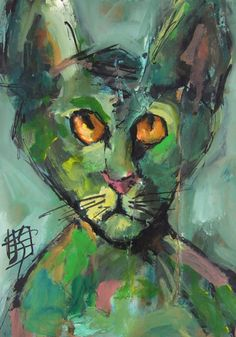 Cat Can Do - original gouache painting by Joanie Springer