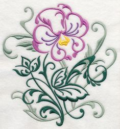 Pansy Filigree design (J7378) from www.Emblibrary.com