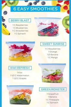 Easy Smoothie Recipes - Healthy Smoothies in freezer bags. Pre-make your cmoothies and freeze them in ziploc bags for easy smoothies in the morning. These ninja belnder recipes and ninja cmoothie recipes are delicious juice smoothie ideas with FRUIT! Frozen Fruit Smoothie, Apple Smoothies, Easy Smoothies, Juice Smoothie, Green Smoothies, Smoothies With Spinach, Healthy Morning Smoothies, Spinach Smoothie Recipes, Vegetable Smoothies