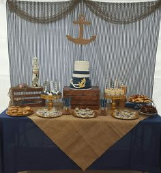 Caribbean Gold- Caribbean Gold Nautical baby shower theme dessert table and backdrop. Navy blue and burlap nautical theme. Sailor Baby Showers, Anchor Baby Showers, Baby Shower Parties, Baby Shower Themes, Baby Boy Shower, Shower Ideas, Baby Showers Marinero, Anchor Cakes, Sailor Theme