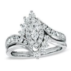 1 CT. T.W. Marquise Diamond Frame Bridal Set in 14K White Gold - Zales