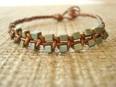 Leather Bracelet. Metallic Copper Leather and by SonseraeDesigns