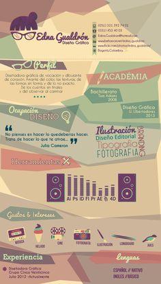 Curriculum Vitae by Edna Gualdrón, via Behance CV Curriculum Vitae Examples, Creative Curriculum, Cv Design, Resume Design, Graphic Design, Portfolio Resume, Portfolio Design, Cv Template, Resume Templates
